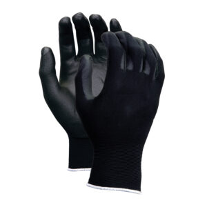 13gauge nylon liner black PU coated gloves WS-506