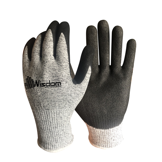 Sandy Nitrile Palm Coated Cut resistant Level-F Gloves WS-132