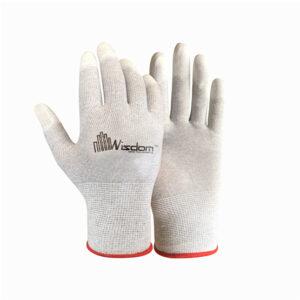 Carbon Fiber ESD PU Finger Coated Gloves WS-504