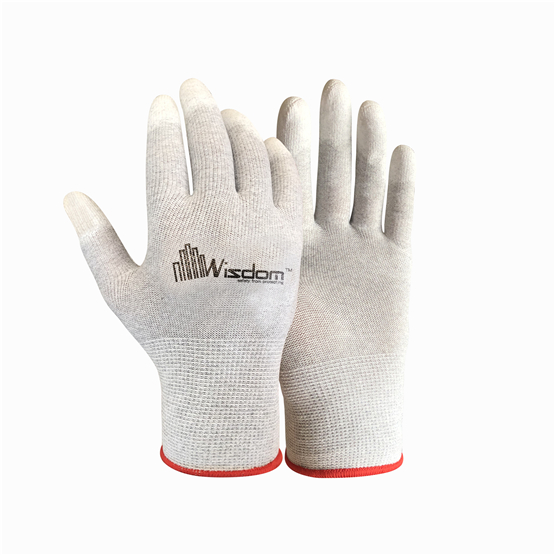 Carbon Fiber ESD PU Finger Coated Gloves WS-504