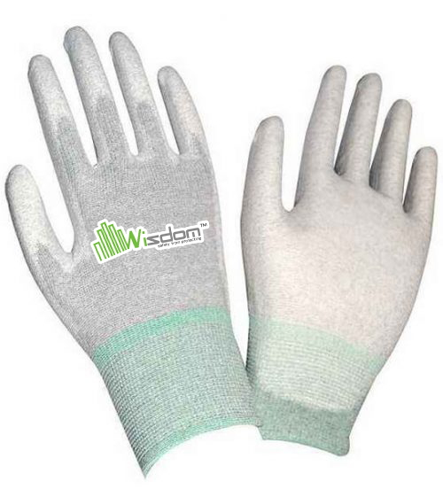 Carbon Fiber ESD PU Palm Coated Gloves WS-505